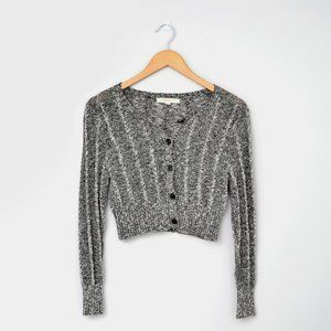 BROOKS BROTHERS Grey Marled Crop Button Cardigan